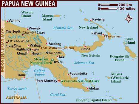 Karta över Papua Nya Guinea