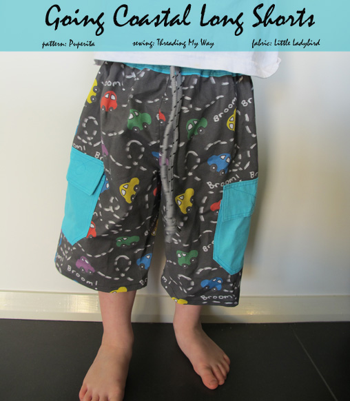 Going Coastal Long Shorts... Pattern Review ~ Threading My Way... pattern by Puperita, fabric by Little Ladybird