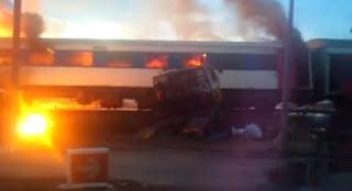 Keretapi Sabah Langgar Lori Tangki Minyak berdekatan KKIA