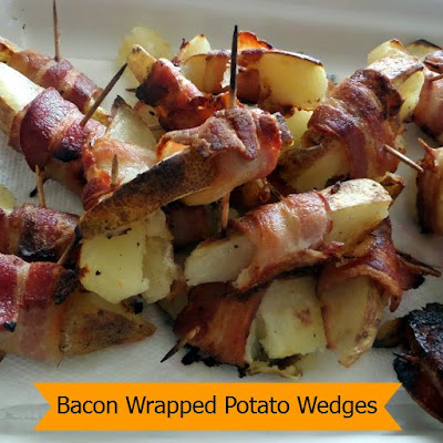 Bacon Wrapped Potato Wedges:  A delicious football snack made with soft potato wedges wrapped with crispy bacon.