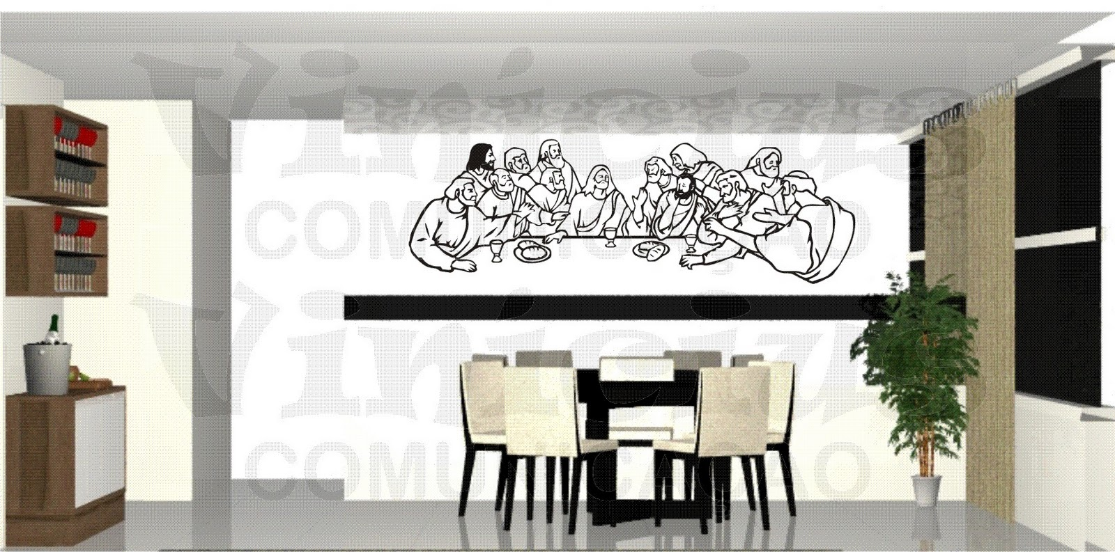 Vin Cius Comunica O Sala De Jantar Santa Ceia  -> Adesivos Decorativos Para Sala De Jantar