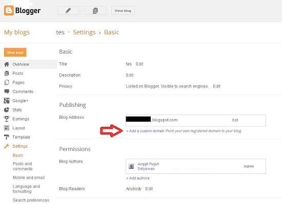 menu setelan untuk mengganti nama domain