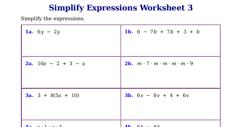 Worksheets for simplifying expressions – Simplify Expressions Worksheet