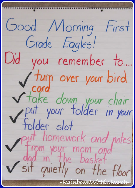 photo of: First Grade Morning Checklist (RoundUP of Morning Routines from RainbowsWithinReach)