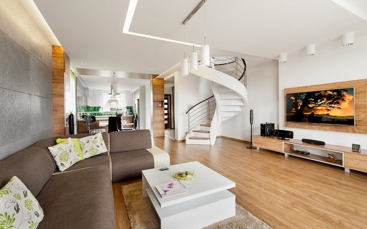 Dise o interior apartamento d plex en sosnowiec for Departamento del interior