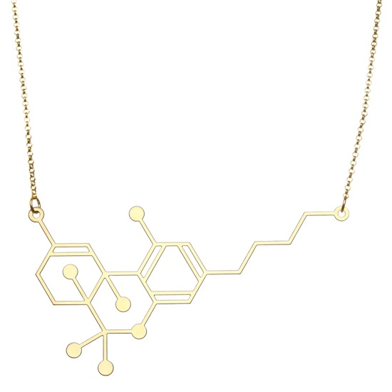 Aroha Silhouettes Gold Plated THC Molecule Necklace