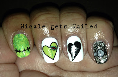 Frankenstein Heart Halloween Nails