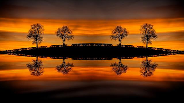 Sunset water mirrors HD Wallpaper