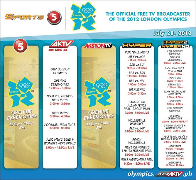 2012 London Olympics broadcast schedule - TV5, AKTV, Hyper