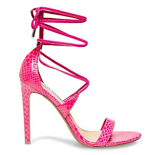 Steve Madden Presidnt Pink Snake Ankle Tie Lace Up Sandals