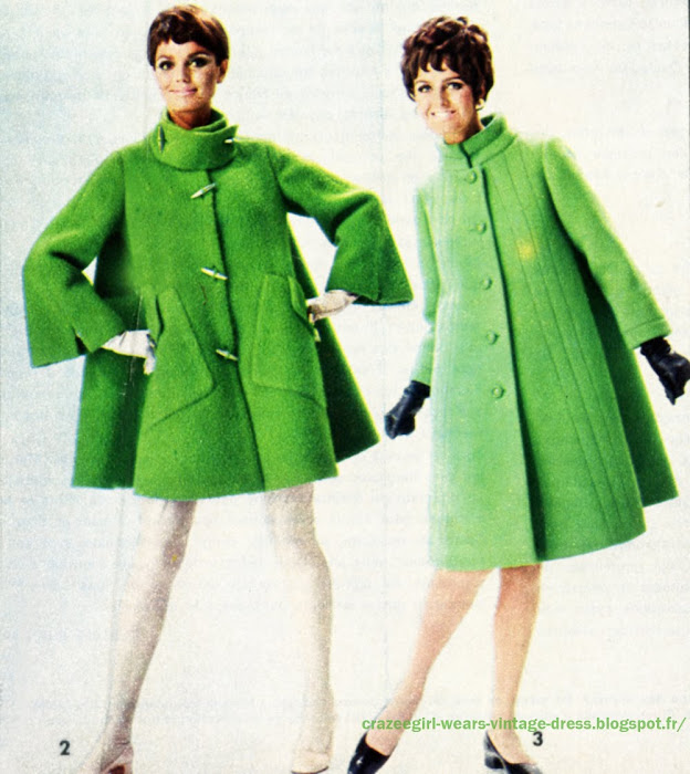 green Louis Feraud Jean Hercey  coat 1967 1968 1969 60s 1960