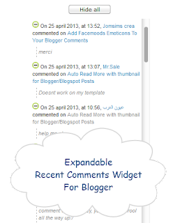 recent comments widget, blogger gadgets, blogspot tricks