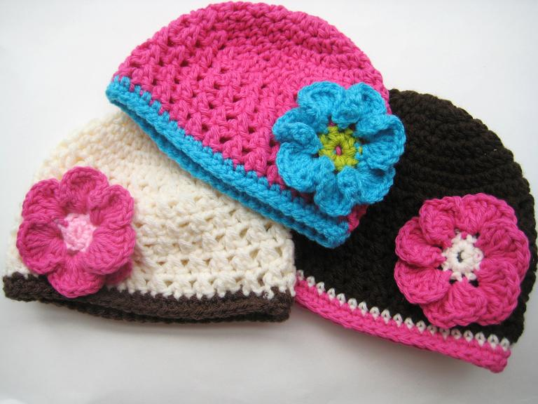 ... Beanie with Flower, Crochet Pattern (all sizes from newborn to adult