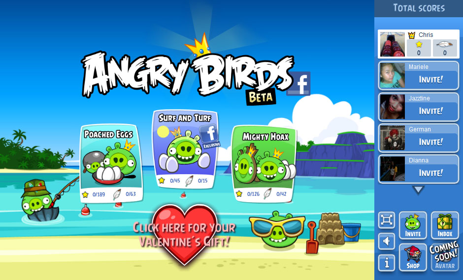 Angry Birds now available on Facebook