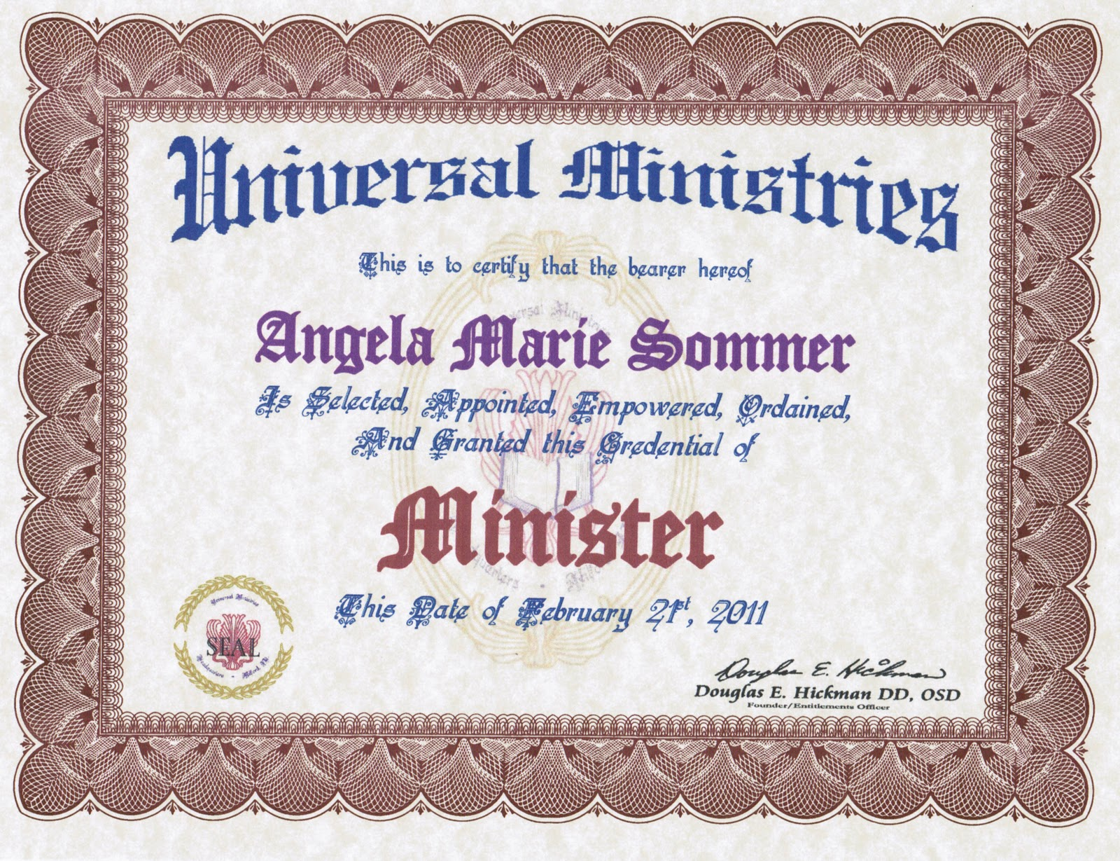 Deacon ordination certificate template for Minister license certificate template