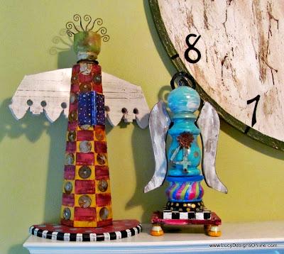 wood angel sculptures