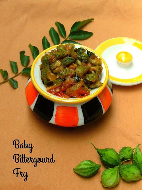 Baby bittergourd fry, Midhi Pavakkai poriyal