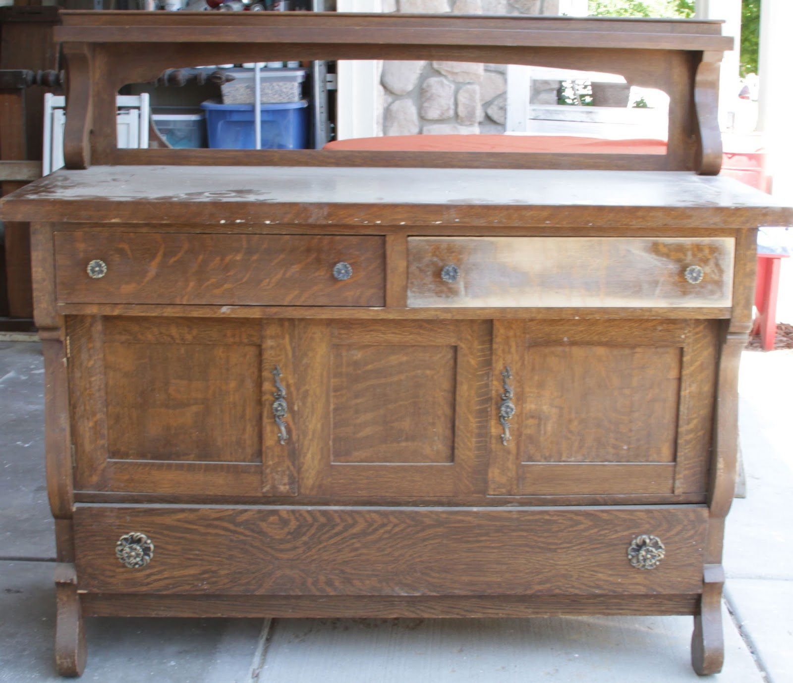 Willow Creek: Antique 16-Toned Distressed Sideboard Buffet