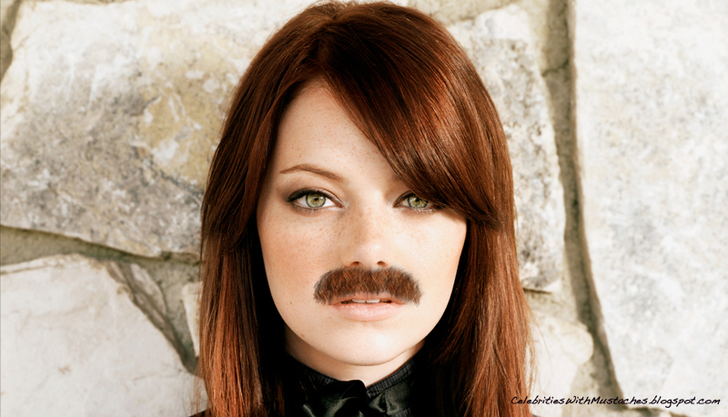 Emma Stone sports a chevron Mustache