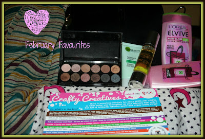 A picture of new Kaytie Wu handbag, stripey scarf, Elvive Nutri-Gloss Light Shine Shampoo and Conditioner, MUA eyeshadow palette in Undressed, Simply Argan Oil, Garnier Moisture Match Shine be Gone, Crafty Creatives Box Card