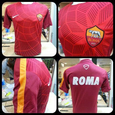 gambar asli hasil photo Jersey Prematch As roma Official terbaru musim 2014/2015
