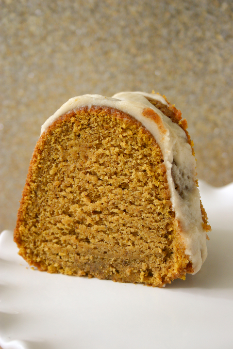 Pumpkin Buttermilk Bundt Cake with Brown Butter Icing.