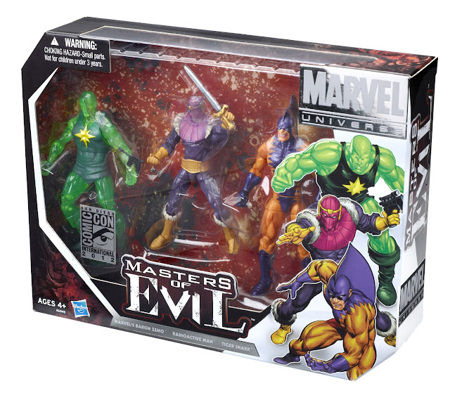 San Diego Comic-Con 2012 Exclusive Masters of Evil Marvel Universe Action Figure 3 Pack in Packaging - Baron Zemo, Radioactive Man & Tiger Shark border=
