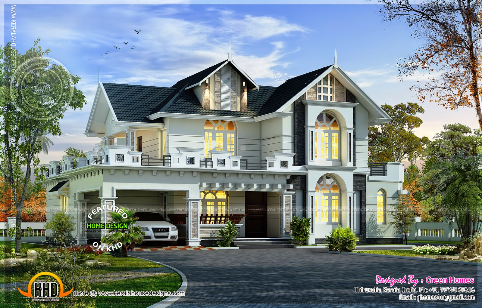 2857 square feet beautiful villa exterior kerala home for Beautiful villas images