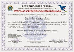 Certificado de registro de Avaliador Imobiliáriao