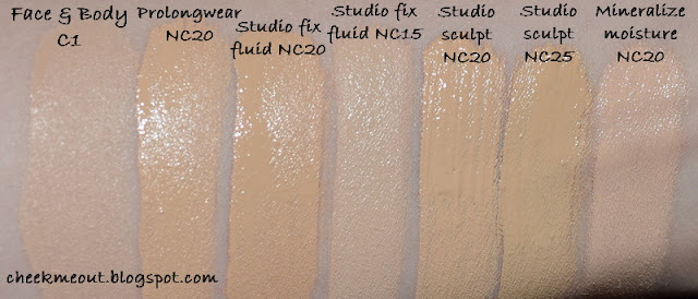 MAC NC15 20 25 Foundations Comparison Swatches