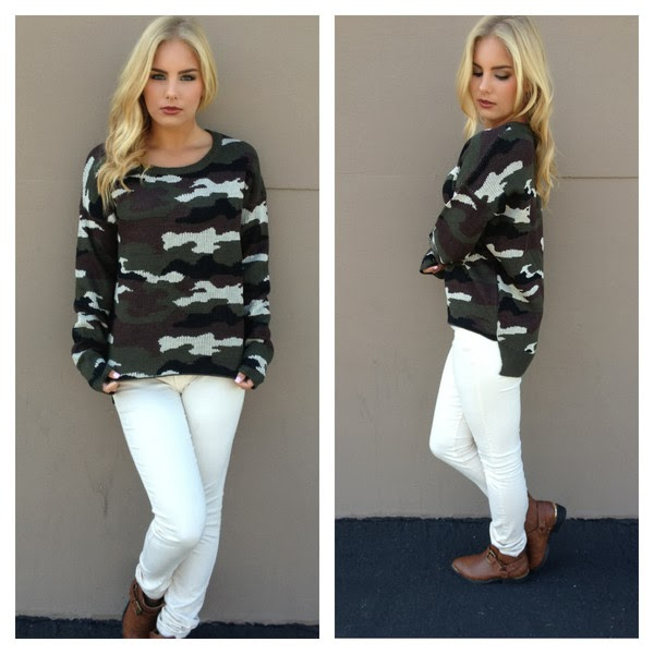 Amazing Army Love Hi Low Knit Sweater and White Jeans with Brown Boots