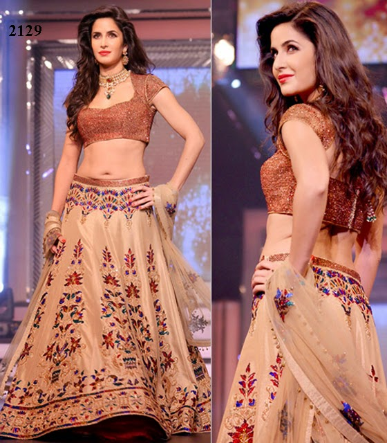 2129 - Katrina Kaif in Latest Designer Off White Lehenga Choli
