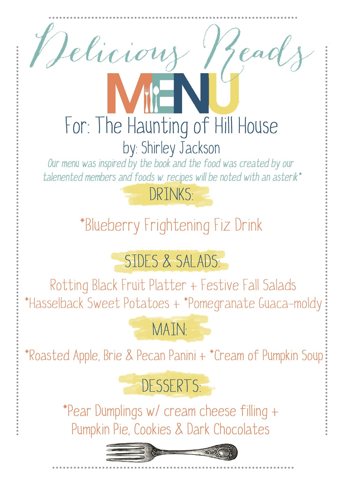 Book menu, menu for the haunting of hill house