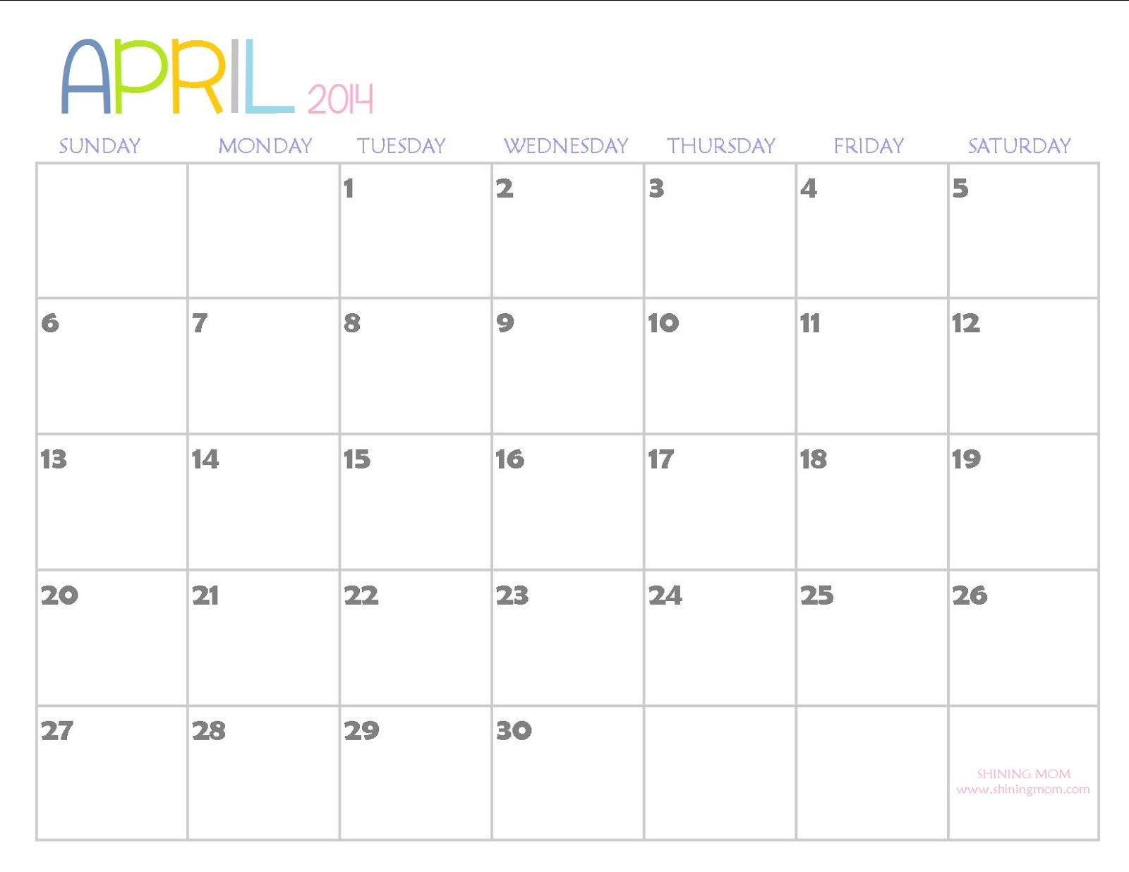 March April May 2014 Calendar April 2014. may 2014