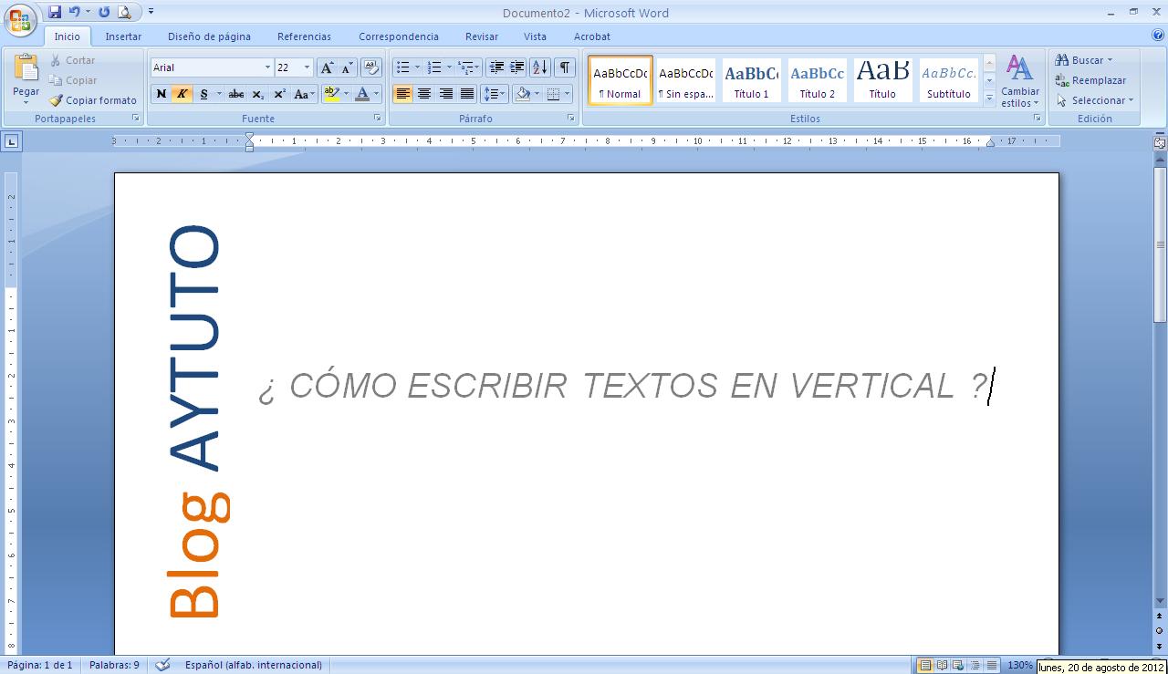 AYTUTO: Escribir textos en vertical en MICROSOFT OFFICE WORD
