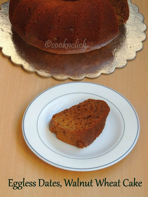 Eggless Wheat cake with Dates, Walnuts