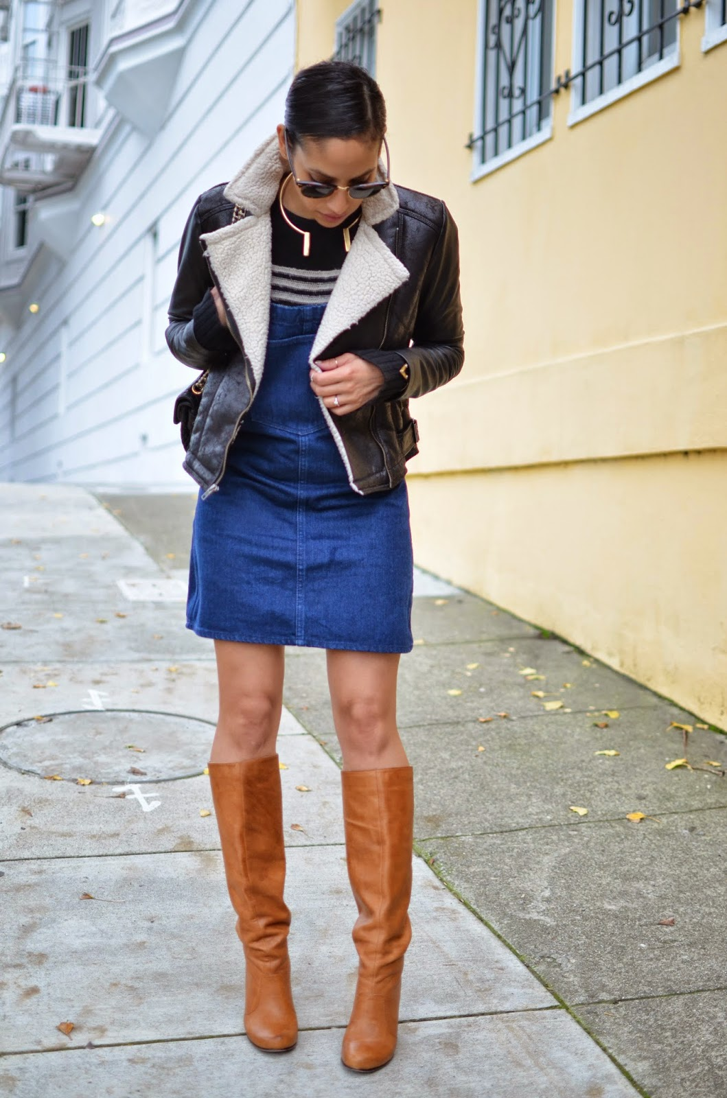 Dolce Vita boots, denim overalls, striped sweater, SF style