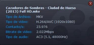Cazadores de Sombras - Ciudad de Hueso - 1080 Dual Lat/Ing