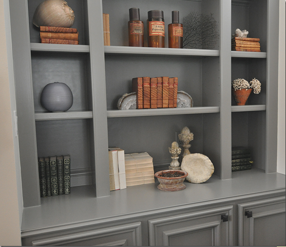 Built In Bookshelves: Honey We're Home: Gray Built-In Bookshelves