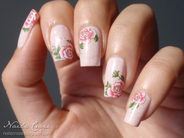 delicate roses nail art - nailz