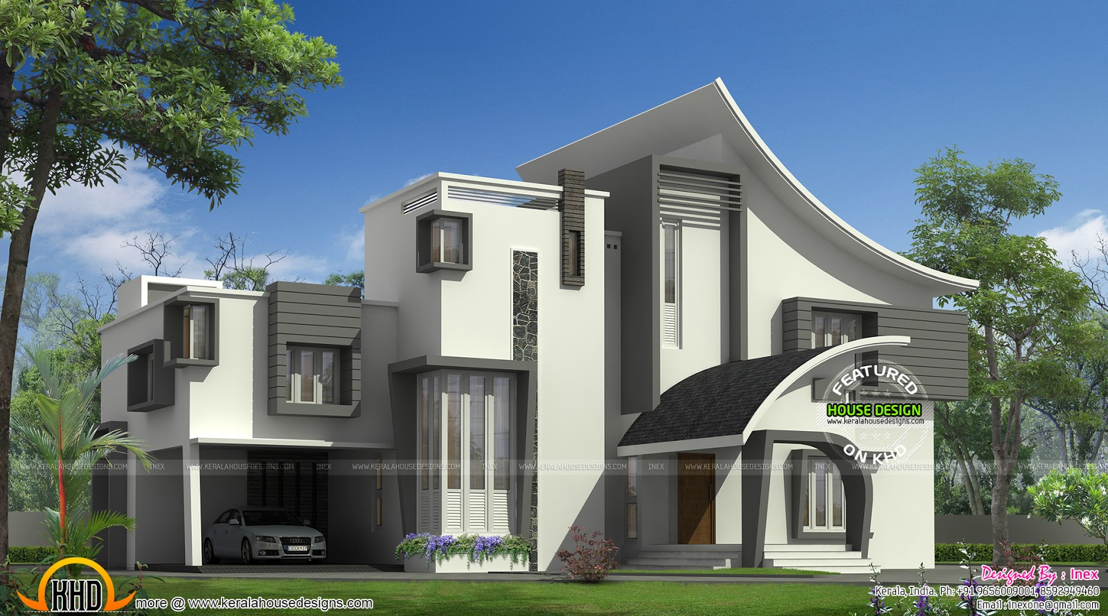 Ultra modern luxury home in kerala kerala home design for Modern house designs and floor plans