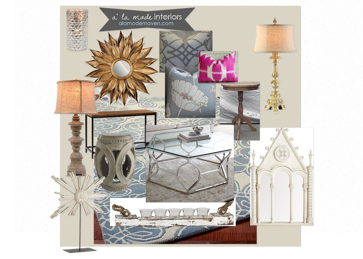 Alamode e design of the week client living room adding for Neutral decor with pops of color