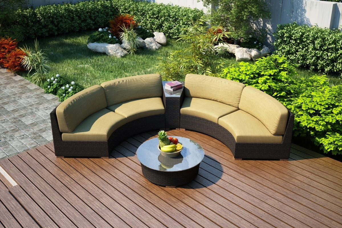 Harmonia Living Arden Eclipse 4 Piece Curved Outdoor Sofa Set With Tan Sunbrella Cushions