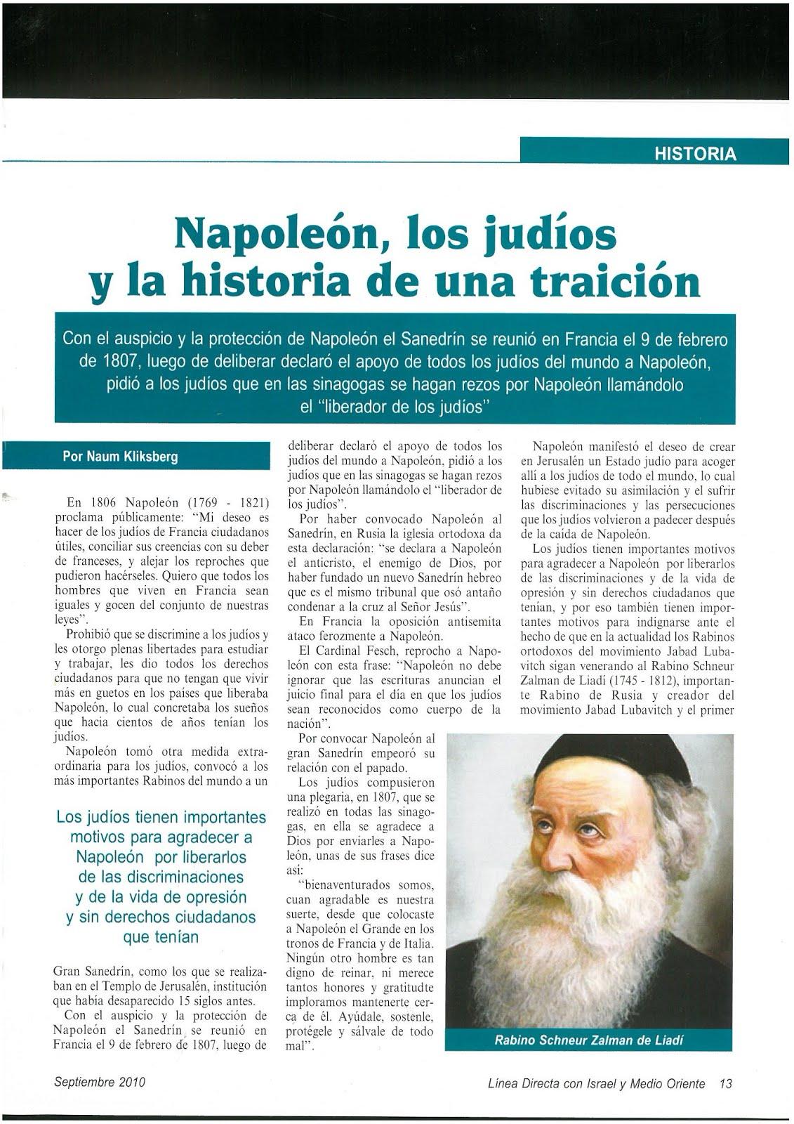 50 - Revista Israelí Linea Directa con Israel y Medio Oriente.09/2010. Artículo de Naum Kliksberg.