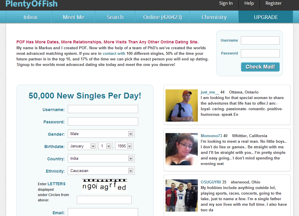 Example Dating Site Profile