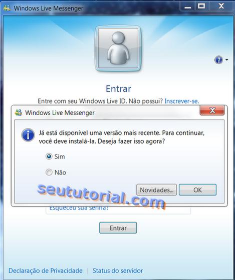 Como evitar a atualização obrigatório do MSN 2009 para o 2011 e manter o Messenger Plus