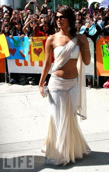Priyanka Chopra looking hot in white saree