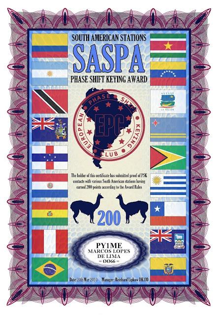 Foto do diploma SASPA 200 oferecido pelo EPC