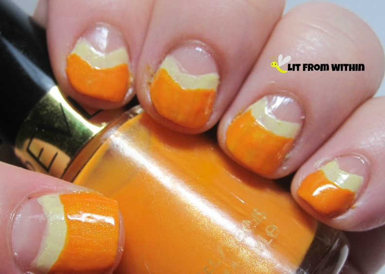 Revlon Tangerine has a little more yellow to it because of the Sunshine Sparkle behind it