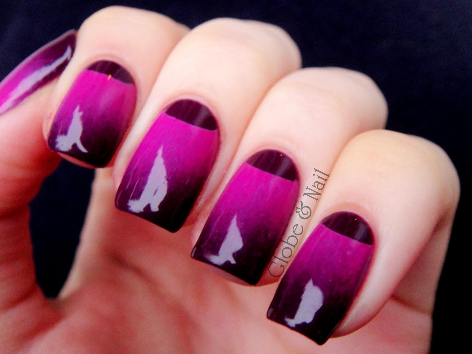 Баклажановые ногти с рисунком